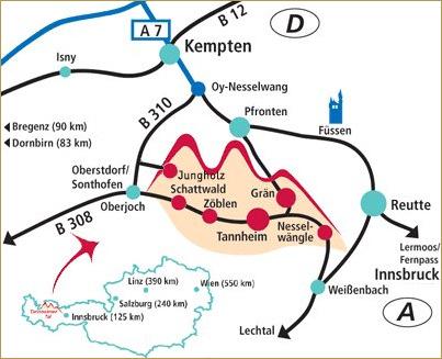 Karte Tannheimer Tal